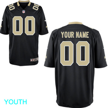 Load image into Gallery viewer, New Orleans Saints Jersey - Youth Black Custom Game Jersey