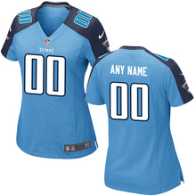 Load image into Gallery viewer, Tennessee Titans Jersey - Women's Light Blue Custom Game Jersey