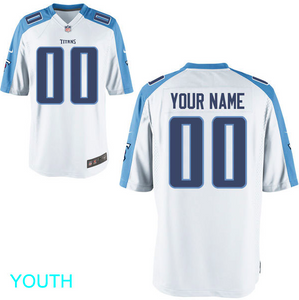 Tennessee Titans Jersey - Youth White Custom Game Jersey