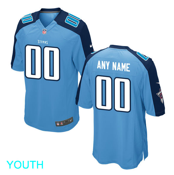 Tennessee Titans Jersey - Youth Baby Blue Custom Game Jersey