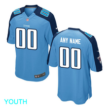 Load image into Gallery viewer, Tennessee Titans Jersey - Youth Light Blue Custom Game Jersey