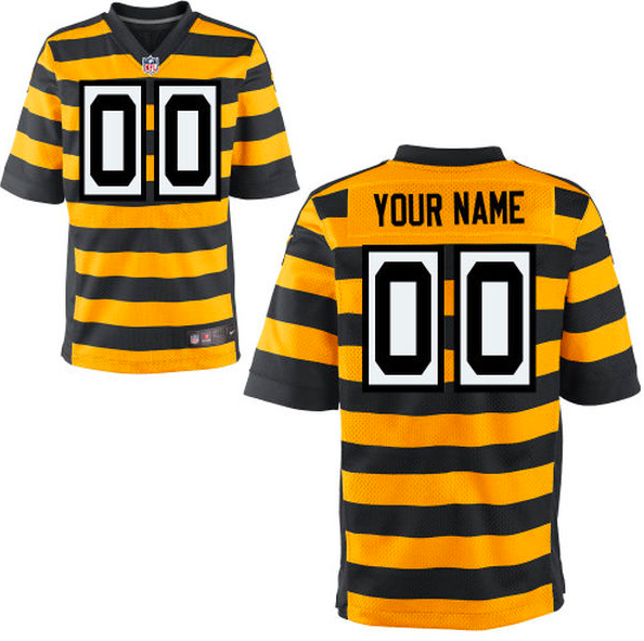 Pittsburgh Steelers Jersey - Men's Yellow Throwback Custom Elite Jersey