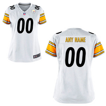 Load image into Gallery viewer, Pittsburgh Steelers Jersey - Women's White Custom Game Jersey