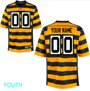 Pittsburgh Steelers Jersey - Youth Yellow Throwback Custom Game Jersey