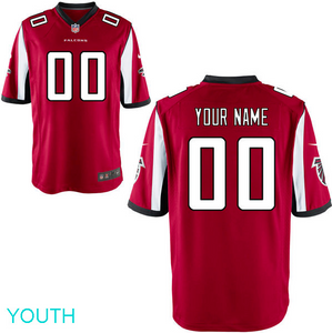 Atlanta Falcons Jersey - Youth Red Custom Game Jersey