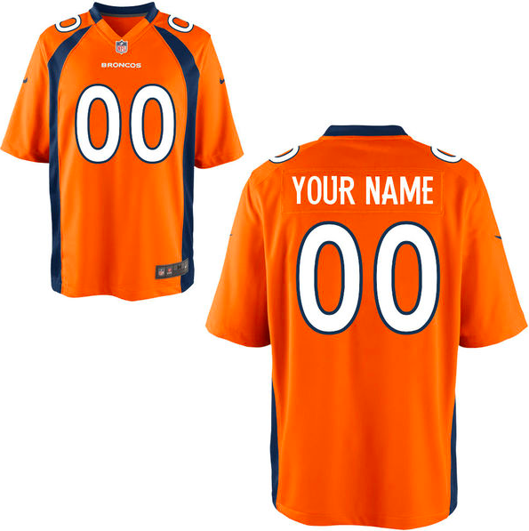 Denver Broncos Jersey - Men's Orange Custom Game Jersey