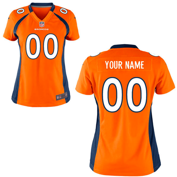 Denver Broncos Jersey - Women's Orange Custom Game Jersey