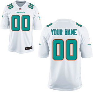 Miami Dolphins Jersey - Men's White Custom Game Jersey