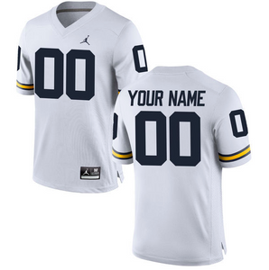 Michigan Wolverines Jersey - Custom White Away Jersey - Any Name and Number