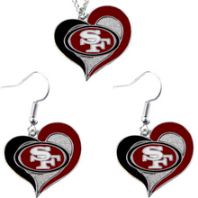 Load image into Gallery viewer, NFL Pick Your Team - Swirl Heart Necklace & Earrings Set
