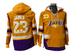 Los Angeles Lakers Lacer - LeBron James Yellow Pullover Hoodie