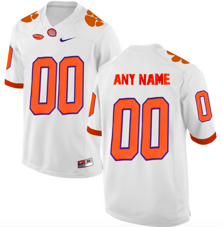 Clemson Tigers Jersey - Custom White Jersey - Any Name and Number
