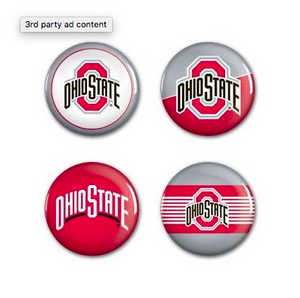 Ohio State Buckeyes Buttons - 4 pack button pins