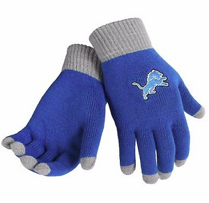 Detroit Lions Gloves - Solid Stretch Knit Texting Gloves