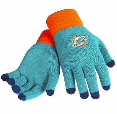 Miami Dolphins Gloves - Solid Stretch Knit Texting Gloves