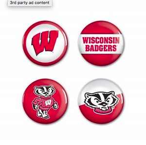 Wisconsin Badgers Buttons - 4 pack button pins