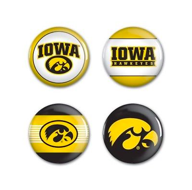 Iowa Hawkeyes Buttons - 4 pack button pins