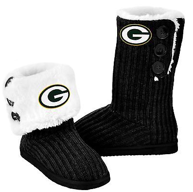 Green Bay Packers Boots - Ladies High End Knit Button Boot Slippers