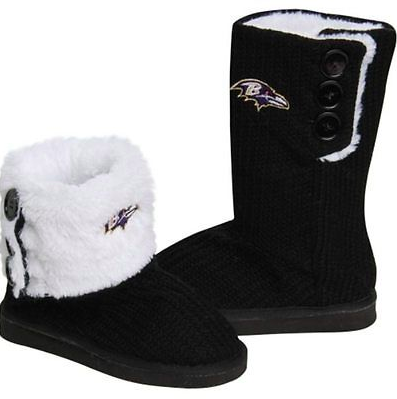 Baltimore Ravens Boots - Ladies High End Knit Button Boot Slippers