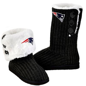 New England Patriots Boots - Ladies High End Knit Button Boot Slippers