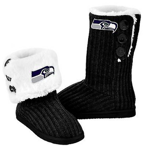 Seattle Seahawks Boots - Ladies High End Knit Button Boot Slippers
