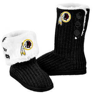 Washington Redskins Boots - Ladies High End Knit Button Boot Slippers