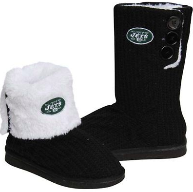 New York Jets Boots - Ladies High End Knit Button Boot Slippers