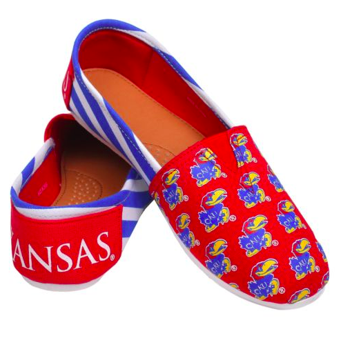 Kansas Jayhawks Slippers - Ladies Logo Stripe Slip Ons
