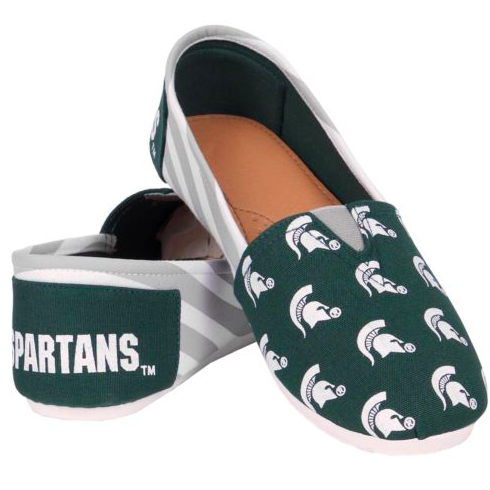 Michigan State Spartans Slippers - Ladies Logo Stripe Slip Ons