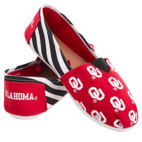 Oklahoma Sooners Slippers - Ladies Logo Stripe Slip Ons