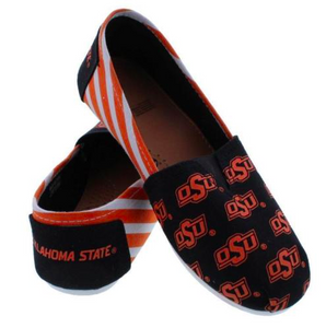 Oklahoma State Cowboys Slippers - Ladies Logo Stripe Slip Ons