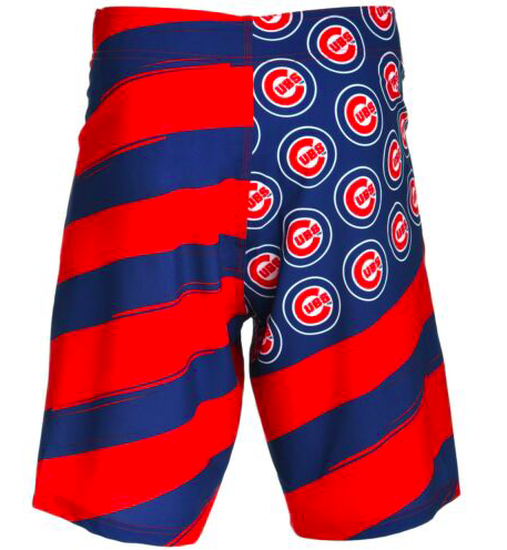 Chicago Cubs Shorts - Mens Flag Stripe Swim and Board Shorts