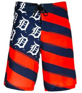 Detroit Tigers Shorts - Mens Flag Stripe Swim and Board Shorts