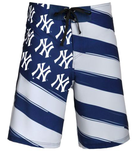 New York Yankees Shorts - Mens Flag Stripe Swim and Board Shorts