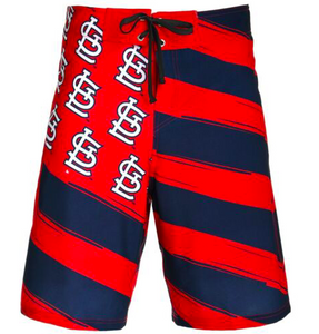St Louis Cardinals Shorts - Mens Flag Stripe Swim and Board Shorts