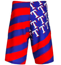 Load image into Gallery viewer, Texas Rangers Shorts - Mens Flag Stripe Swim and Board Shorts
