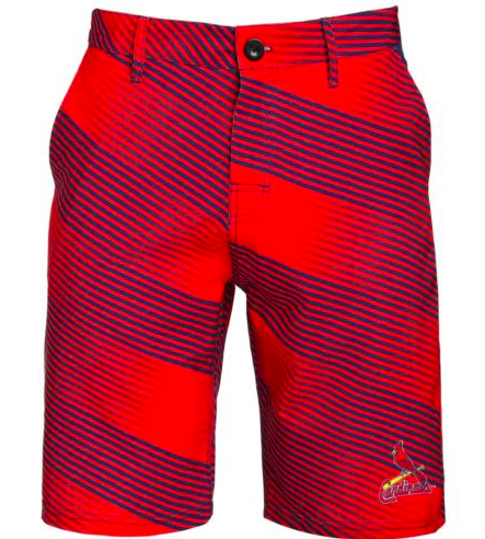St Louis Cardinals Shorts - Mens Diagonal Stripe Walking Shorts