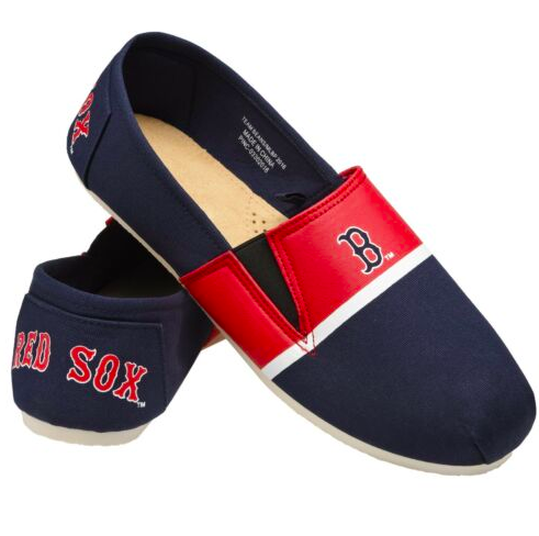 Boston Red Sox Shoes - Men's Stripe Canvas Shoes