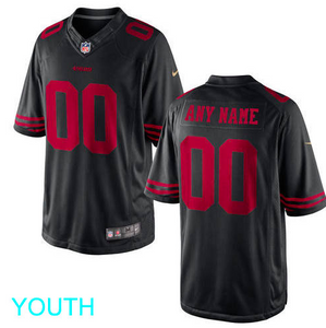 San Francisco 49ers Jersey - Youth Black Custom Game Jersey