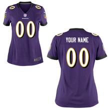 Load image into Gallery viewer, Baltimore Ravens Jersey - Women's Purple Custom Game Jersey