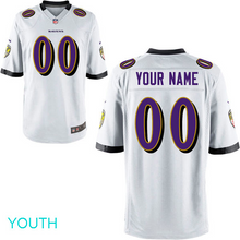 Load image into Gallery viewer, Baltimore Ravens Jersey - Youth White Custom Game Jersey