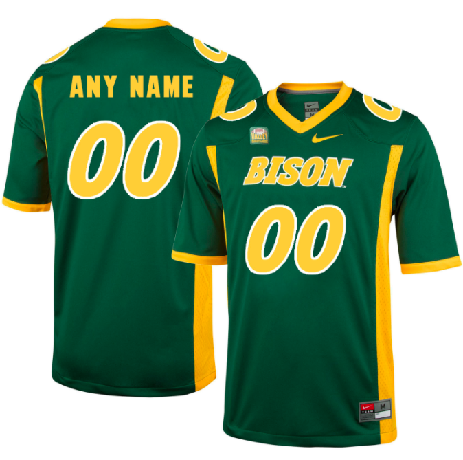 North Dakota State Bison Jersey - Custom Green Jersey - Any Name and Number