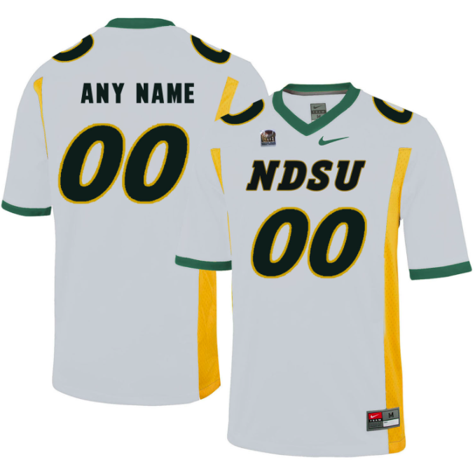 North Dakota State Bison Jersey - Custom White Jersey - Any Name and Number