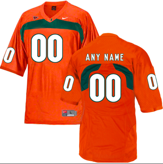 Miami Hurricanes Jersey - Custom Orange Jersey - Any Name and Number
