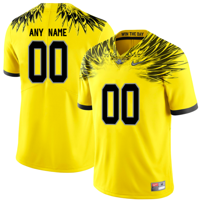 Oregon Ducks Jersey - Custom Yellow Win The Day Jersey - Any Name and Number