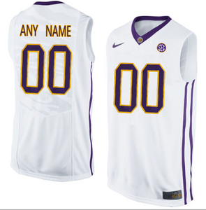 LSU Tigers Jersey - Custom White Basketball Jersey - Any Name and Number