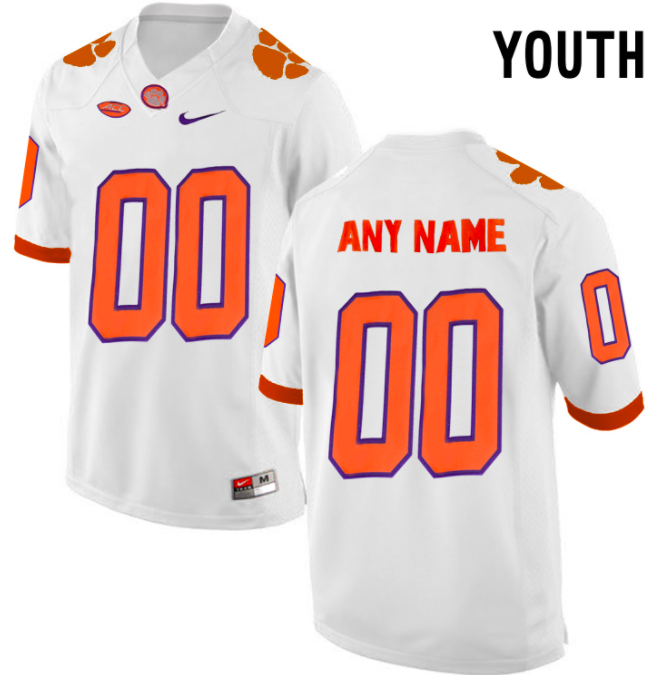 Clemson Tigers Jersey - Custom YOUTH White Jersey - Any Name and Number