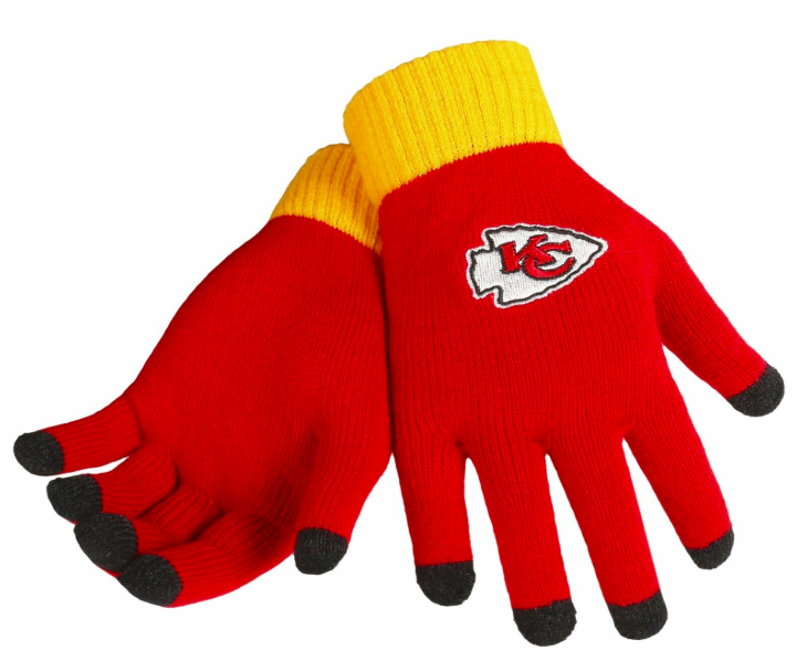 Kansas City Chiefs Gloves - Solid Stretch Knit Texting Gloves