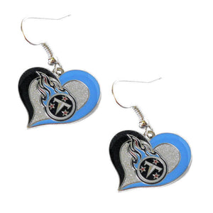 Tennessee Titans Swirl Heart Dangle Earrings