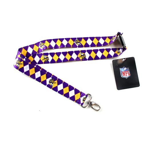 Minnesota Vikings Lanyard - Argyle Lanyard Clip Keychain Key Ring Badge Ticket Holder